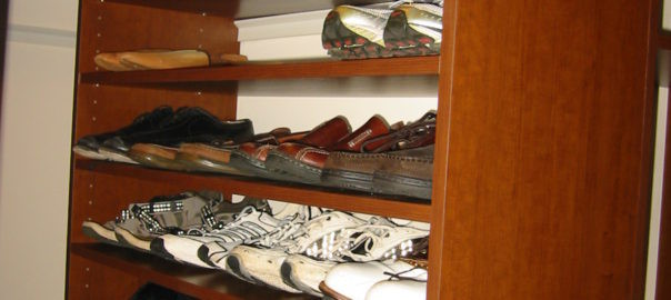 Storage for shoes in closet
