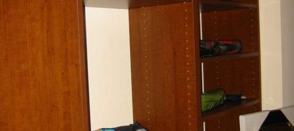 View of shelves in closet