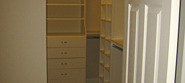 View from the doorway of custom closet system