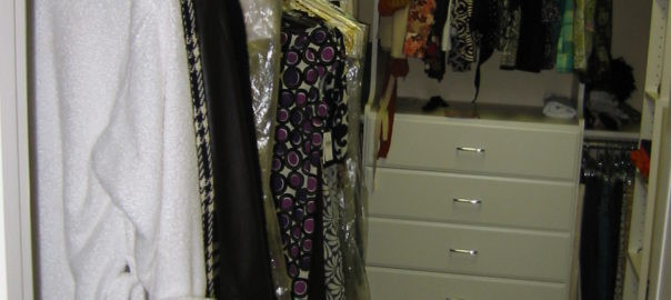 Finished closet showing storage of clothes
