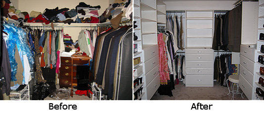 Bedroom Closet system before and after