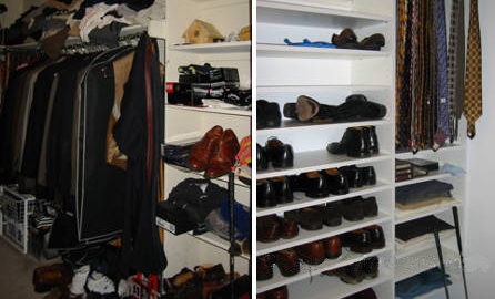 Before and after shoe storage in closet