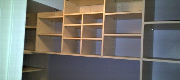 closeup of storage shelves